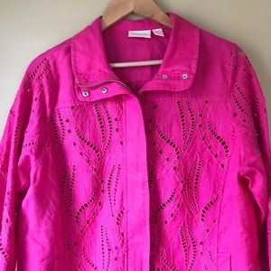 Chico's Spring Jacket Eyelet Pink Full Zip Sz 2